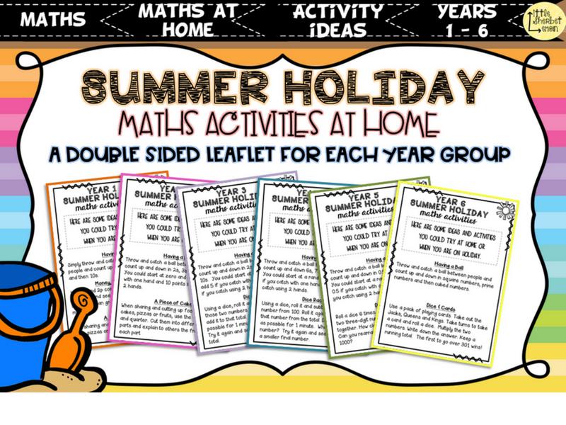 Summer Holiday Maths Activities Yr1 - 6