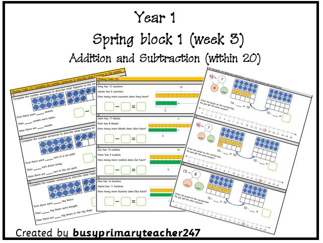 Year 1 - Spring block 1 - Addition and Subtraction (within 20) week 3.