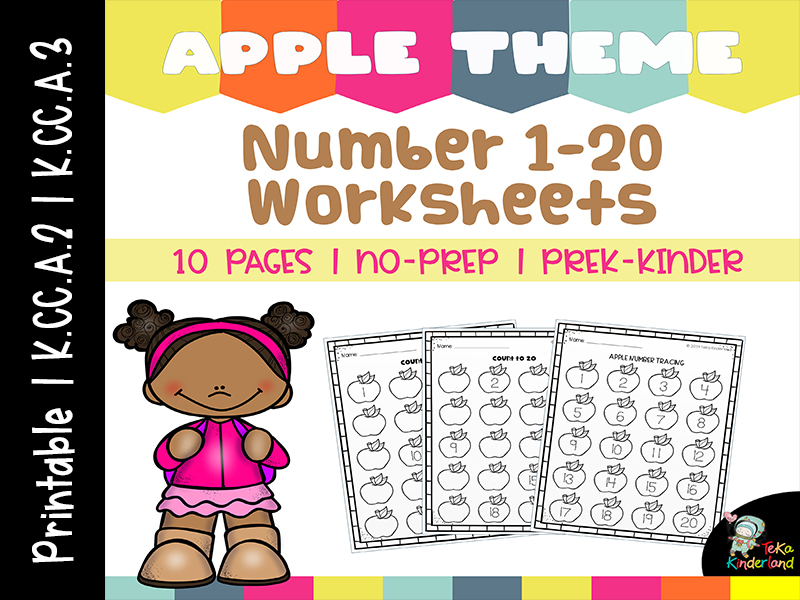 Apple Theme Number 1-20 Worksheets NO-PREP | Apple Number Tracing Printable