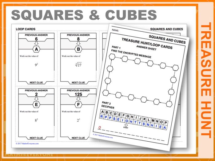 Squares and Cubes (Treasure Hunt)
