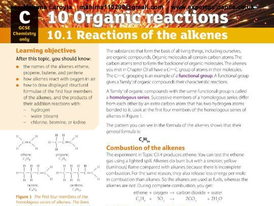 New (9-1) AQA GCSE Chemistry C10 Organic Reactions Revision PackVideos,Notes, Questions, Past Papers