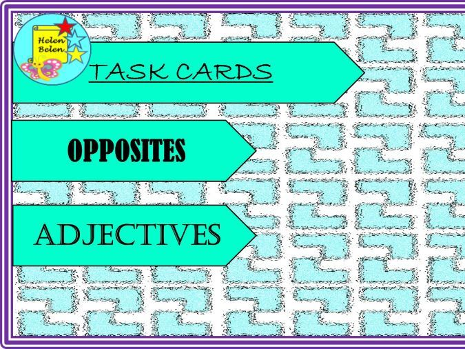 Task Cards Opposites Adjectives