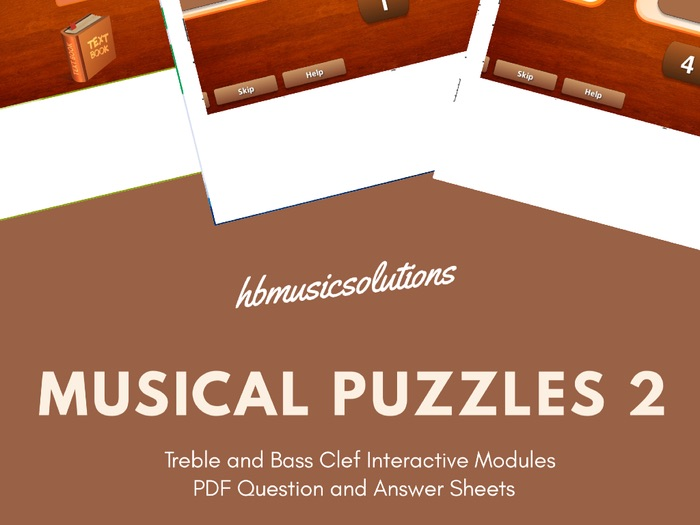 Musical Puzzles 2 Treble and Bass Clef Interactive and Worksheets
