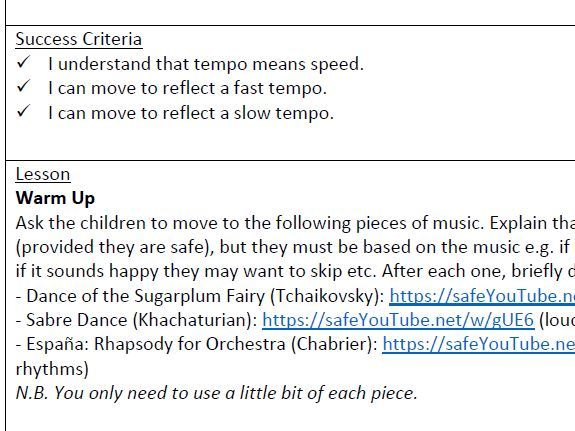 Year 2 Elements of Music Planning (tempo, dynamics, pitch, rhythm and pulse)
