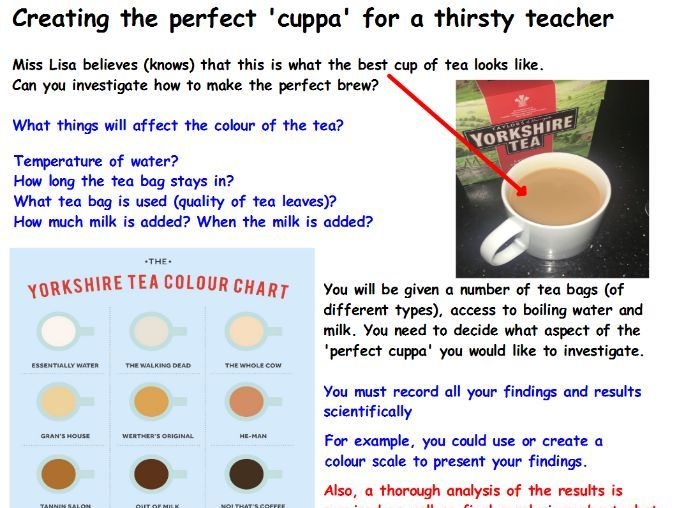 Scientific enquiry KS2 - tea tests