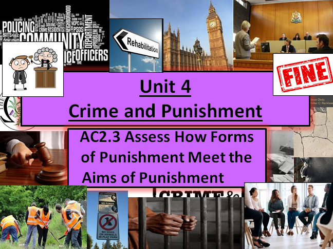 Criminology (NEW SPEC)Unit 4- AC2.3-Assess How Forms of Punishment Meet the Aims of Punishment
