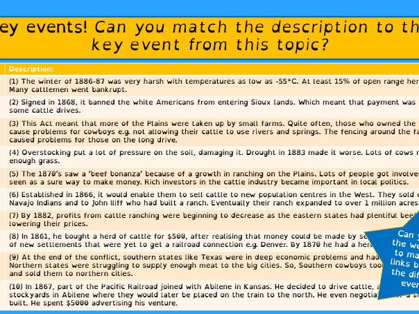 Edexcel American West (9-1) - Narrative Account Question lesson (Cattle Industry)