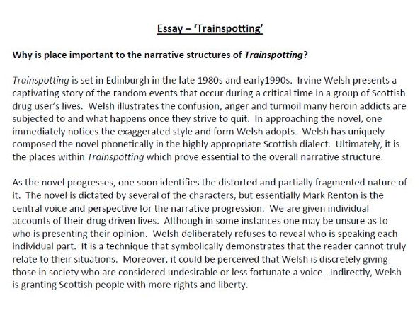 Trainspotting Essay By Poetryessay  Teaching Resources  Tes