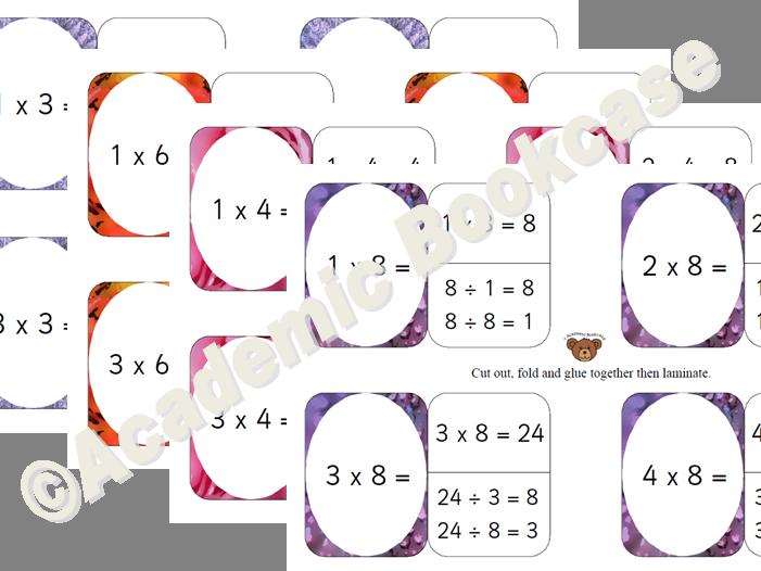 Self check flashcards - 3,6,4,8 Times Tables Bundle