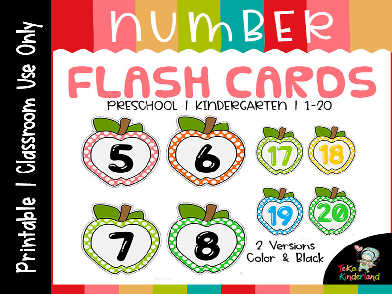 Apple Theme Number 1-20 Flash Cards Polka Dots [48 Cards] Printable