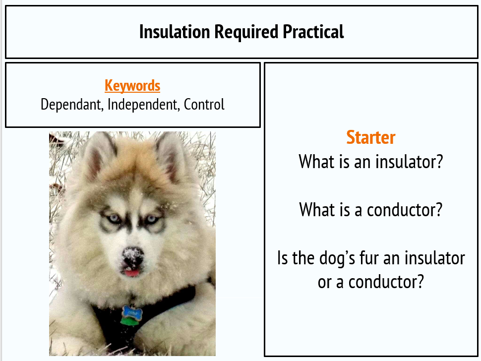 Insulation Required Practical New AQA GCSE