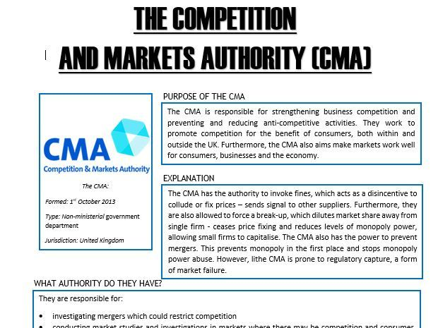 A-Level - Economics - The CMA, FTC & ECC