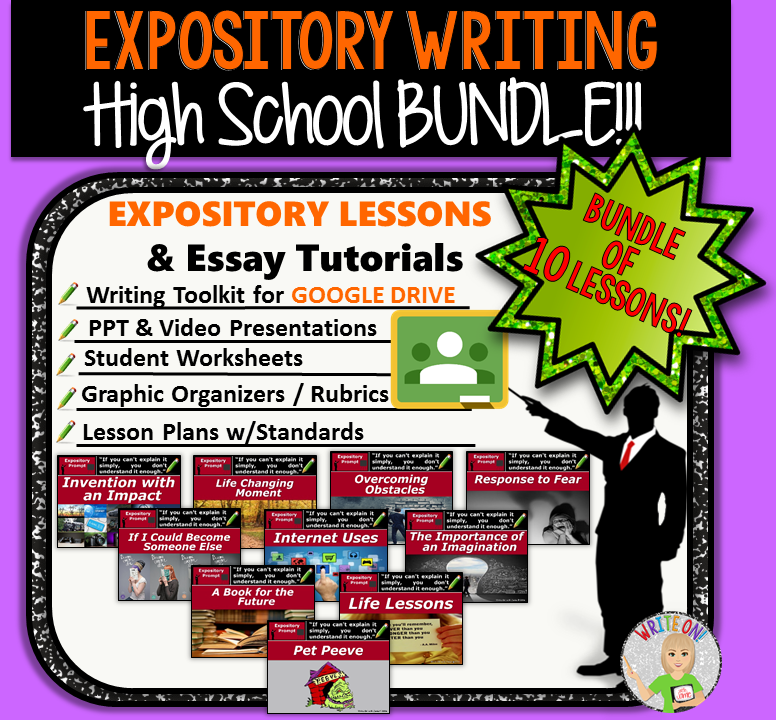 Expository Writing Prompts Bundle – Digital Resource – 10 Lessons!!! – High School