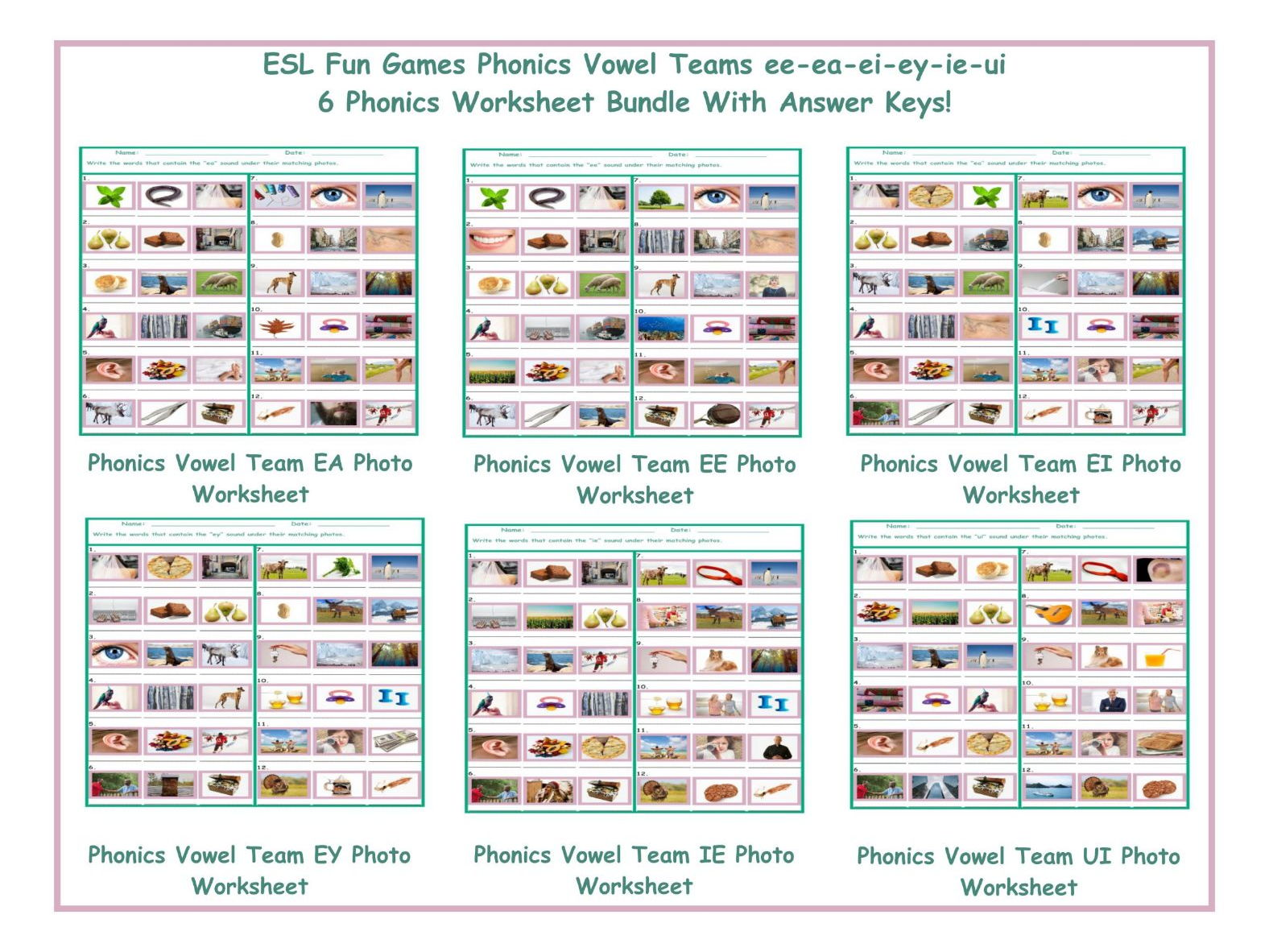 Worksheets Esl Phonics Worksheets phonics vowel teams ee ea ei ey ie ui 6 worksheet bundle by eslfungames teaching resources tes