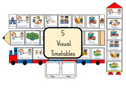 5 visual timetables and 21 cards
