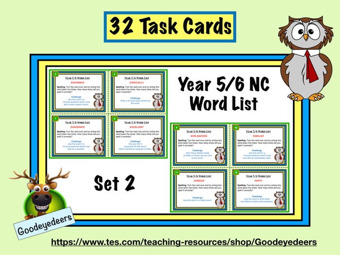 Year 5/6 Word List - 32 Task Cards - Set 2