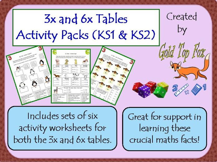 3x and 6x Tables Activity Sheet Packs (KS1 & KS2)