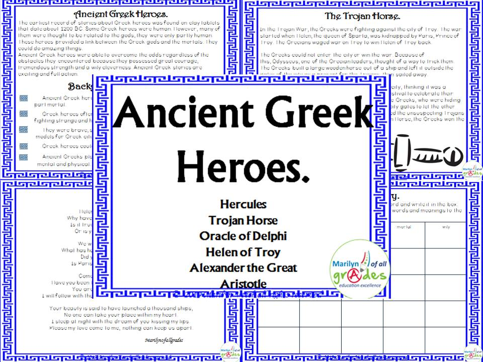 Ancient Greek Heroes - Worksheets and Activities