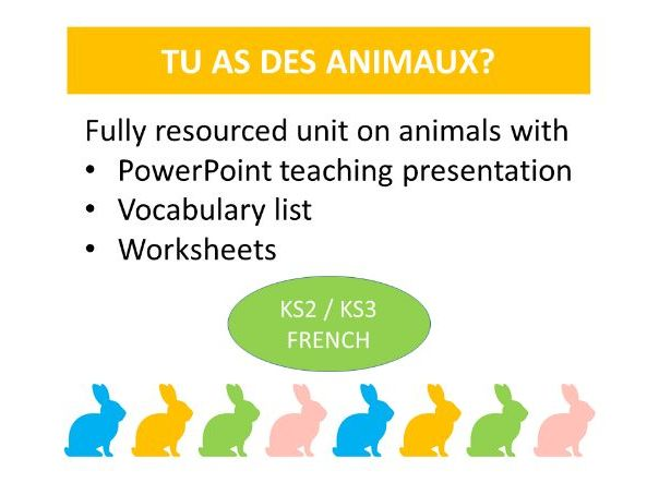 French: Animals.  PowerPoint lesson and worksheets