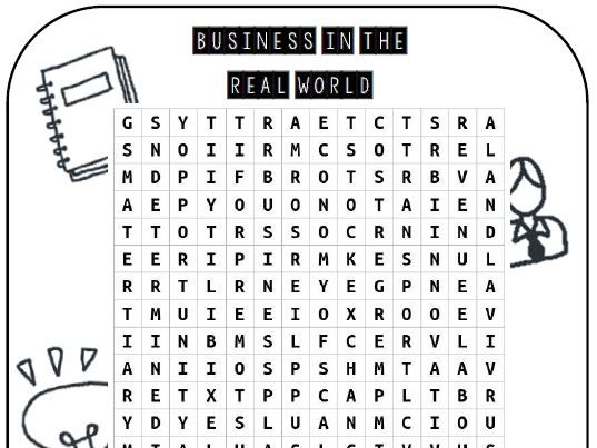 AQA GCSE Business (9-1) - Cross WordSearch - Business In The Real World