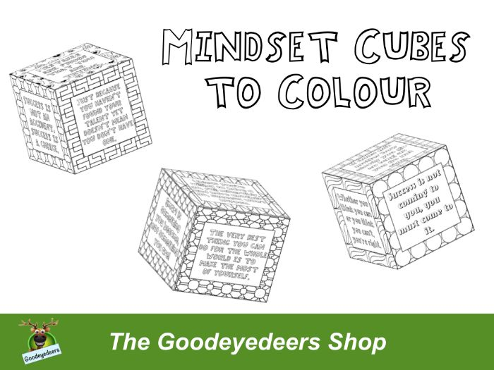 Growth Mindset Cubes to Colour