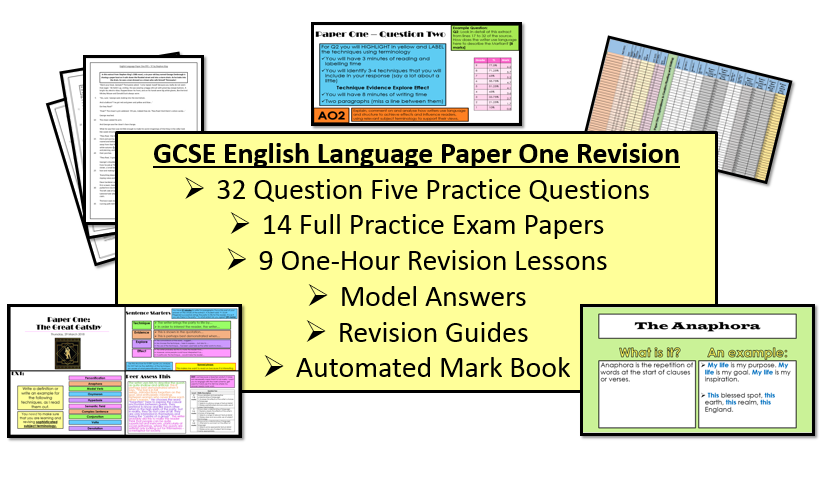English Language Paper One Revision & Exam Practice Bundle (AQA, 9-1 GCSE)