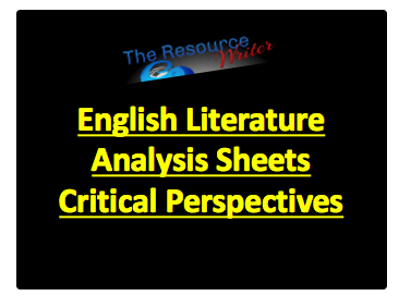 Literature Analysis Sheets Critical Perspectives