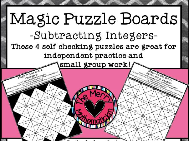 Subtracting Integers Magic Puzzle Boards