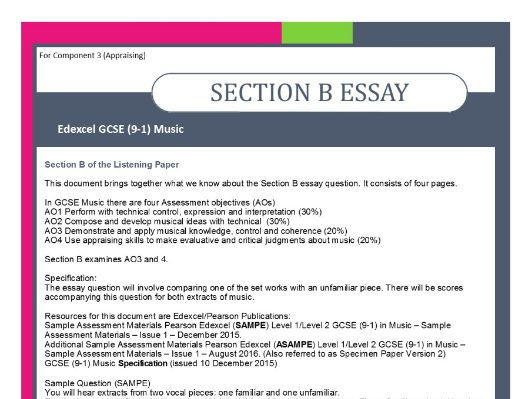 edexcel gcse music set works scores