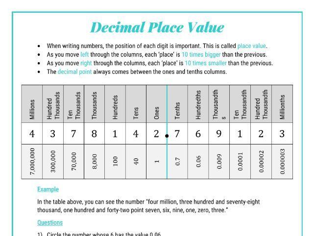 Decimal Place Value - KS3 Numbers