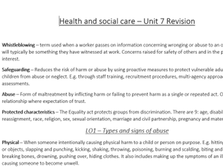 Health and social care Level 3 Unit 7 Safeguarding Cambridge Technical