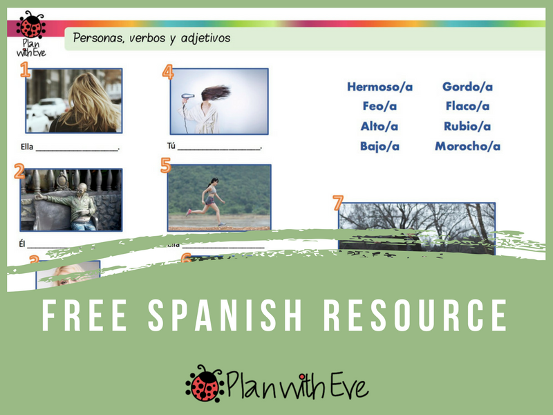 Spanish adjectives for Beginners - Free  Resource, fillable PDF!