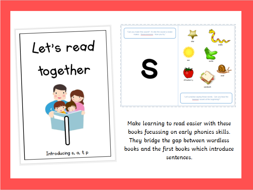 Pre-reader series: Let's Read Together - Book 1, Introducing s, a, t, p