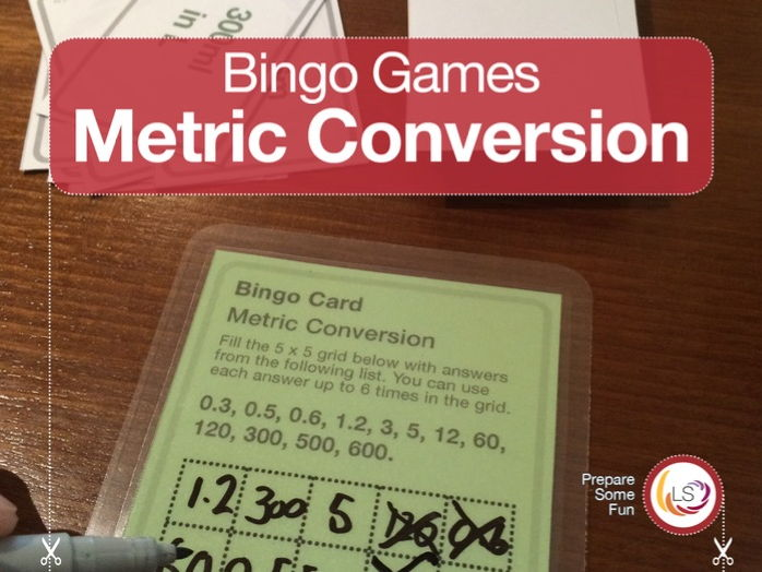 Metric Conversion Bingo Game