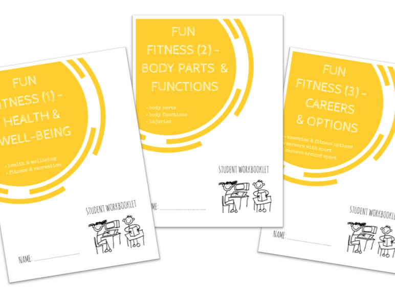 FUN FITNESS bundle - x3 workbooklets HEALTH & WELL-BEING, BODY PARTS & FUNCTIONS, CAREERS & OPTIONS