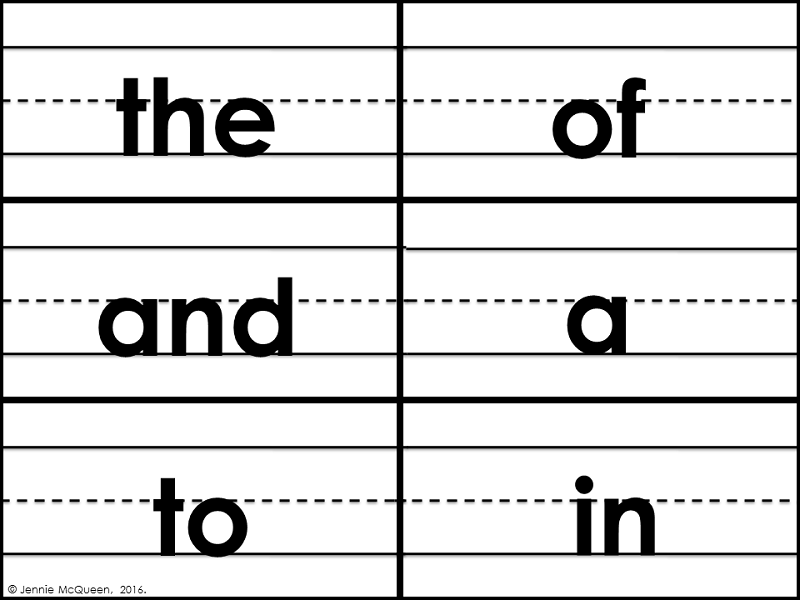 Sentence Strip Sight Words: Fry First 100 List