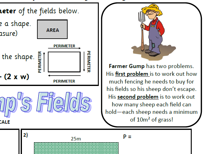 KS2 Area and Perimeter Worksheet including problem solving & money