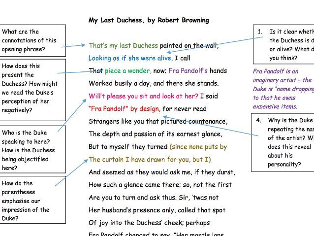 "GCSE Poetry Anthology: ""My Last Duchess"" Analysis Task"