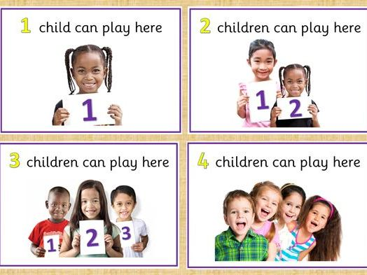 How many children can play here? Visual number display posters