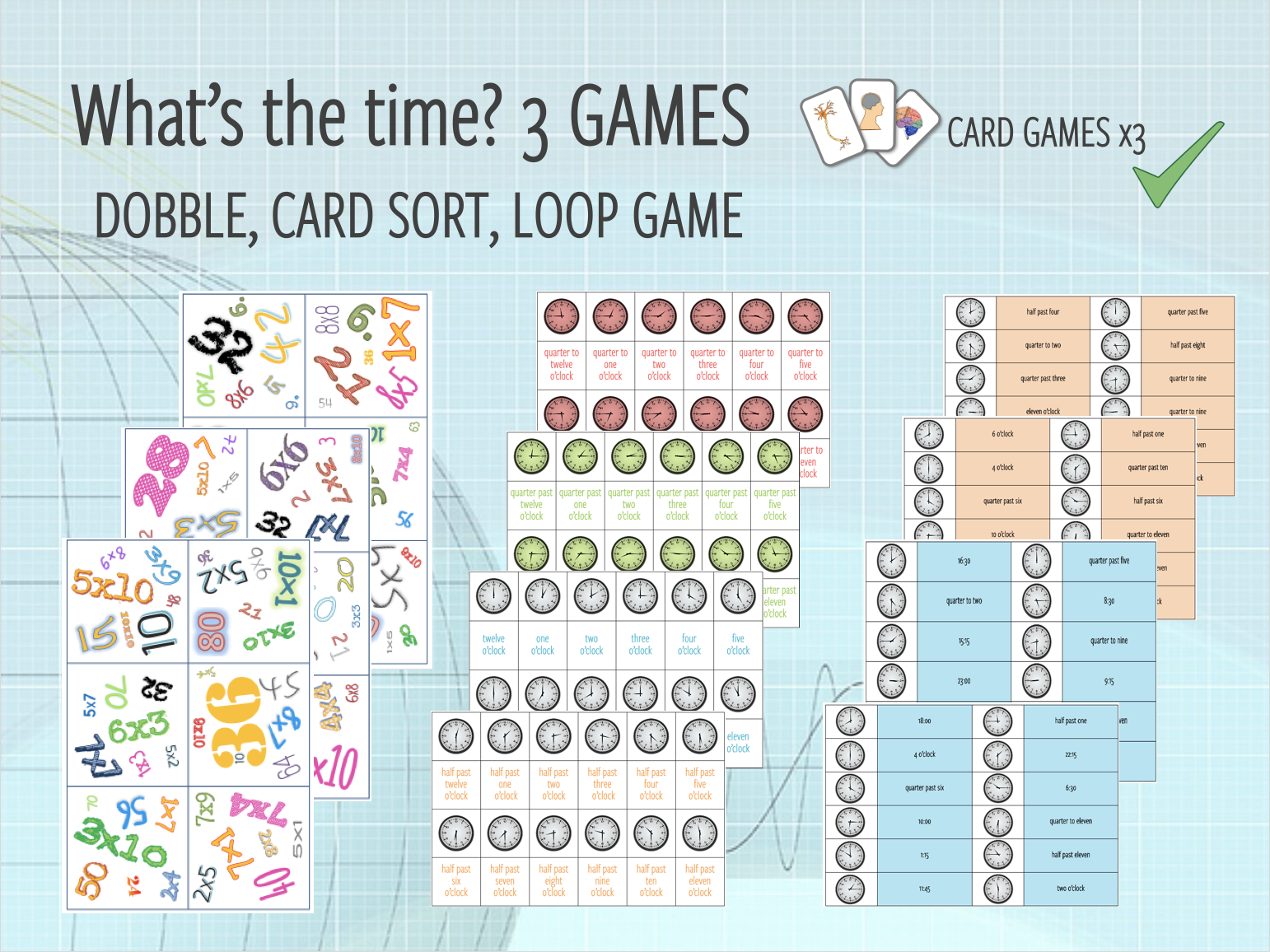 Telling the time - 3 GAMES (DOBBLE, CARD SORT, LOOP GAME)