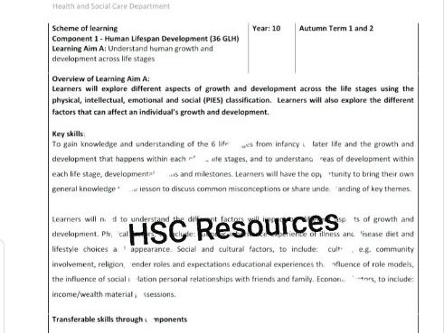 BTEC Tech Award HSC - New Schemes of Learning  for all Components