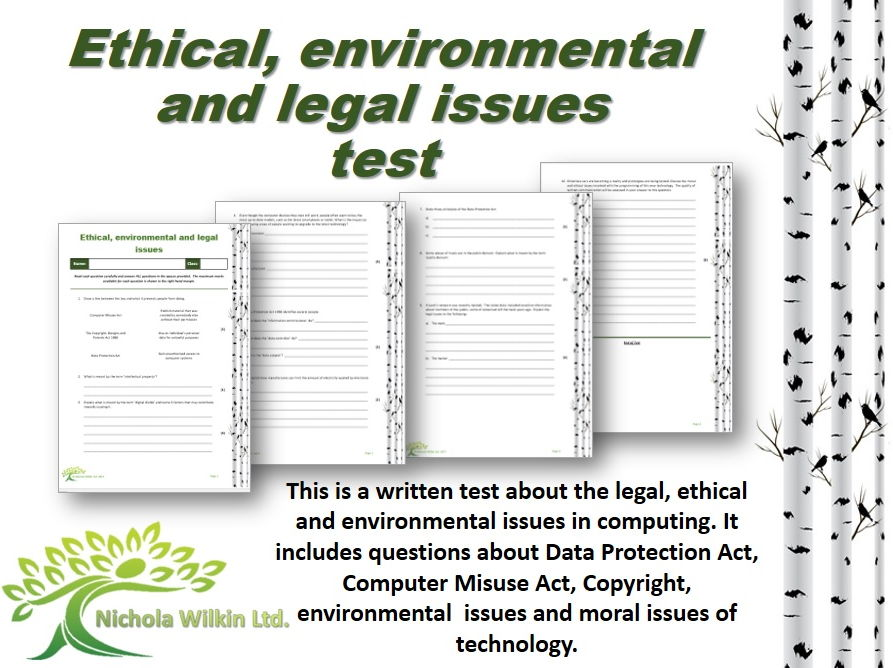 Ethical, environmental and legal issues test (GCSE Computer Science and KS3 Computing)