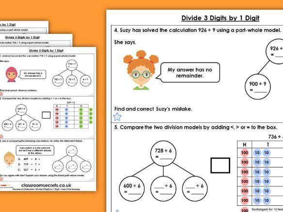 Year 4 Divide 3 Digits by 1 Digit Spring Block 1 Maths Homework Extension
