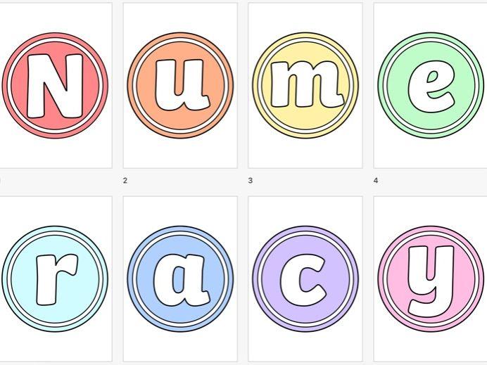 Numeracy Display lettering Pastel Circular