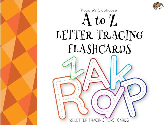 A to Z letter tracing flashcards