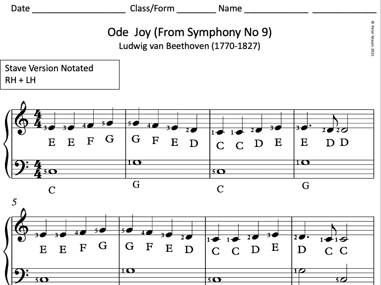 Ode to Joy for Piano / Keyboard - Differentiated Versions for Classroom Teaching
