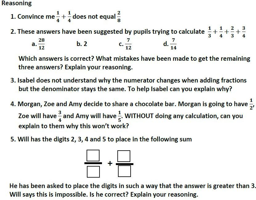 Addition, Subtraction,  Multiplication and Division of Fractions Problem Solving Mastery Worksheets