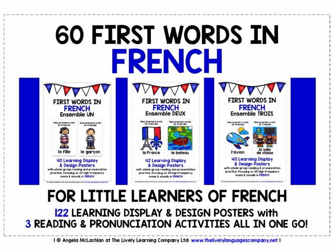 PRIMARY FRENCH - 122 LOOK, READ, LABEL & LEARN POSTERS & READING /  PRONUNCIATION ACTIVITIES