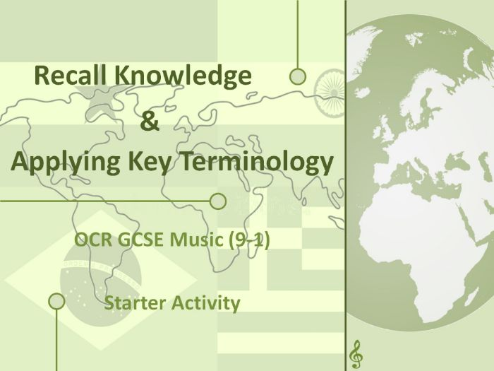 OCR GCSE Music - Recall Knowledge and Key Terminology Starter - AOS3 - Rhythms of the World