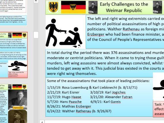 Weimar - Early Challenges - Spartacist / Kapp / Munich / Hyperinflation.  Extensive detail